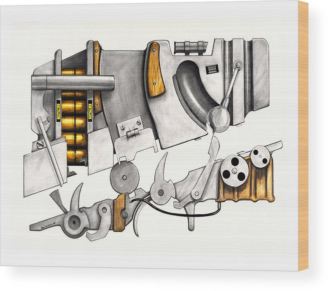 Modern Wood Print featuring the drawing Simple Machines Drawing Three by Sean Gautreaux