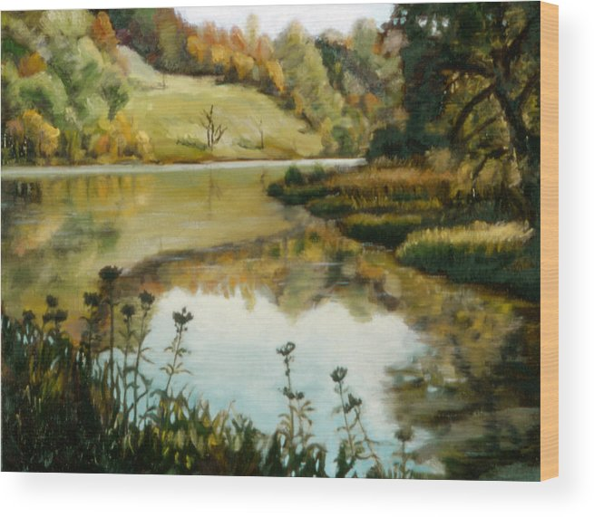 Six Mile Creek Wood Print featuring the painting Six Mile Creek Ithaca by John Clum