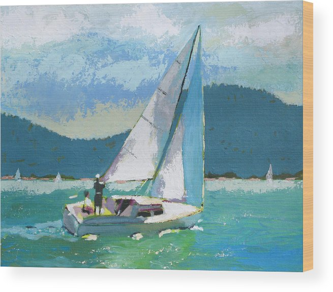 Boat Wood Print featuring the painting Smooth Sailing by Robert Bissett