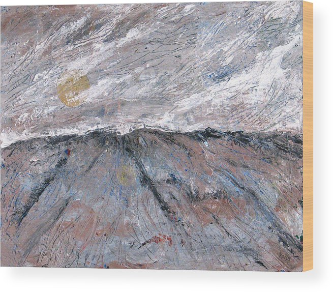 Mountains Wood Print featuring the painting Somewhere Higher by Rollin Kocsis