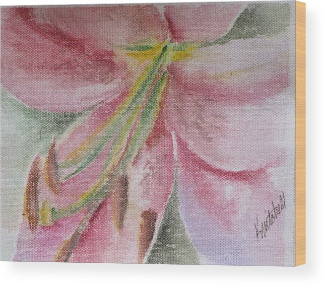 Floral Wood Print featuring the painting Spring Lily by Kathy Mitchell