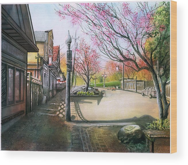 Landscape Wood Print featuring the painting Spring On Clarke Street Port Moody by Dumitru Barliga