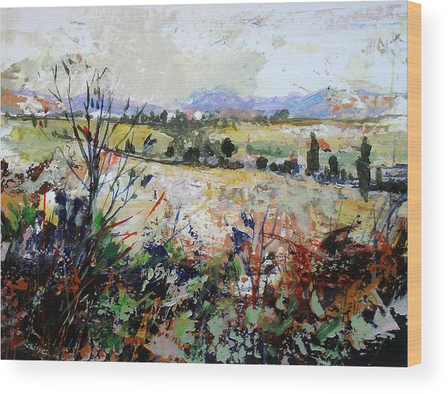 Landscape Wood Print featuring the painting Spring Rain by Dale Witherow