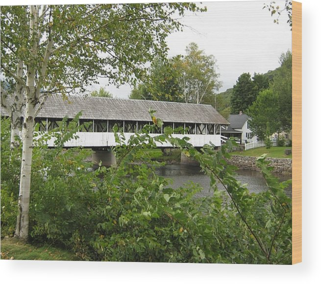 Nh Wood Print featuring the photograph Stark Covered Bridge by Wayne Toutaint
