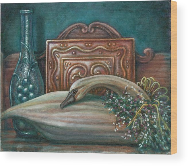 Swan Wood Print featuring the painting Still Life With Swan by Colleen Maas-Pastore