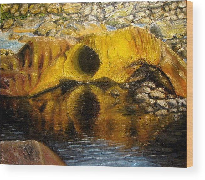 Landscape Wood Print featuring the painting Stones Ocoee River In Tennessee Landscape Original Oil Paintings by Natalja Picugina