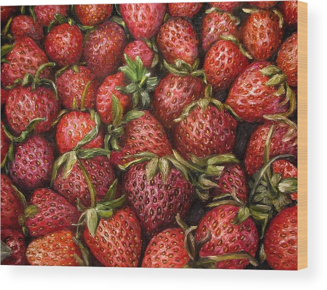 Strawberries Wood Print featuring the painting Strawberries -2 Contemporary Oil Painting by Natalja Picugina