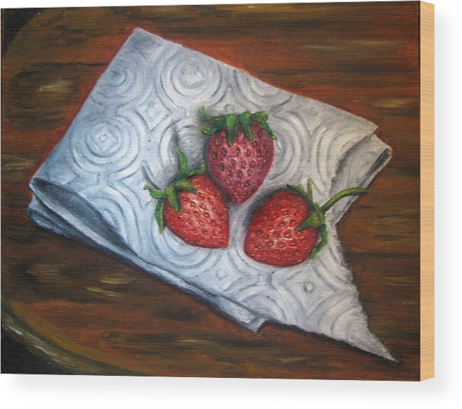 Strawberries Wood Print featuring the painting Strawberries-3 Contemporary Oil Painting by Natalja Picugina
