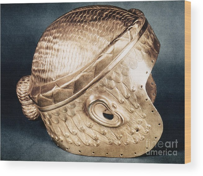 2500 B.c. Wood Print featuring the photograph Sumerian Gold Helmet by Granger