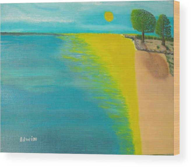 Sun Wood Print featuring the painting Sunset Beach by Edwin Long