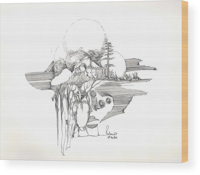 Rocks Wood Print featuring the drawing Surrealscape 4 by Padamvir Singh