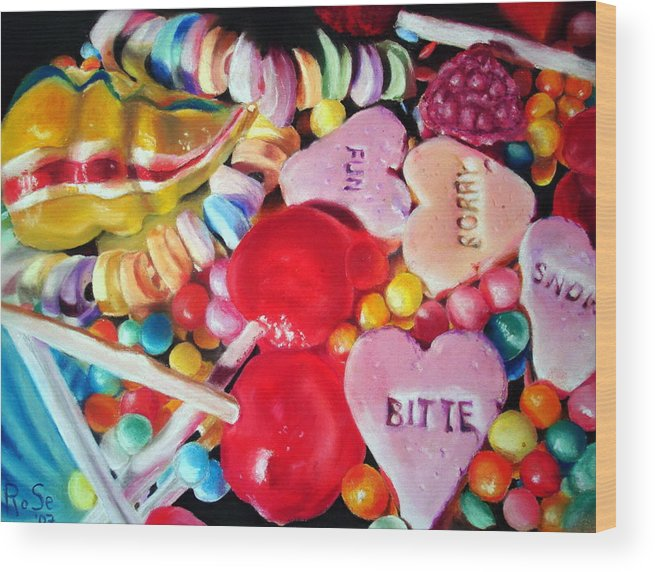 Soft Pastels Wood Print featuring the painting Sweets For My Sweet by Rose Sciberras