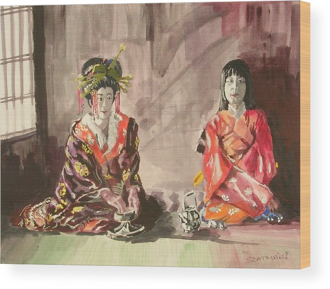 People Wood Print featuring the painting Tea Ceremony by Janos Szatmari