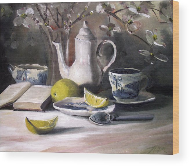 Lemon Wood Print featuring the painting Tea With Lemon by Nancy Griswold
