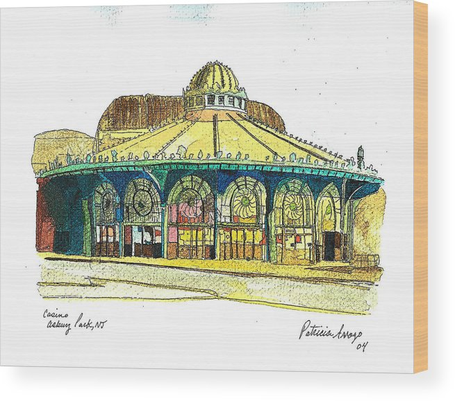 Asbury Art Wood Print featuring the painting The Asbury Park Casino by Patricia Arroyo
