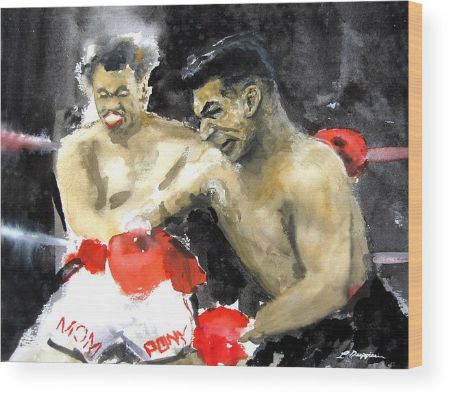 Boxers Wood Print featuring the painting The Beast In The Ring by Leonardo Ruggieri