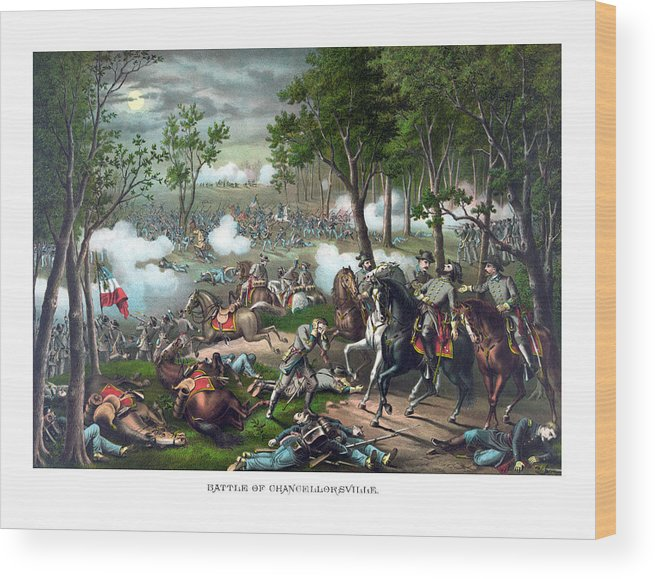 Civil War Wood Print featuring the painting The Death Of Stonewall Jackson by War Is Hell Store