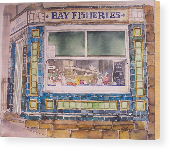 Fish And Chip Wood Print featuring the painting The Fish And Chip Shop by Victoria Heryet