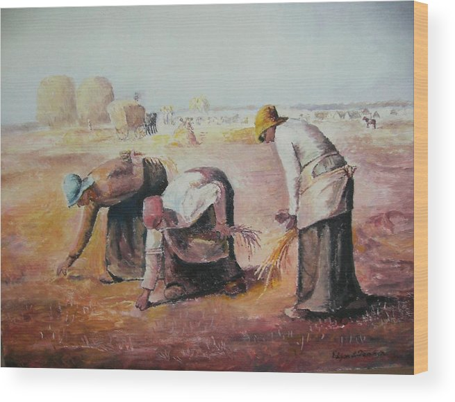 Gleaners Wood Print featuring the painting The Gleaners After Millet By My Dad by Anne-Elizabeth Whiteway