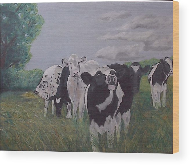 Cows Wood Print featuring the painting The Greeter by Robert Tower
