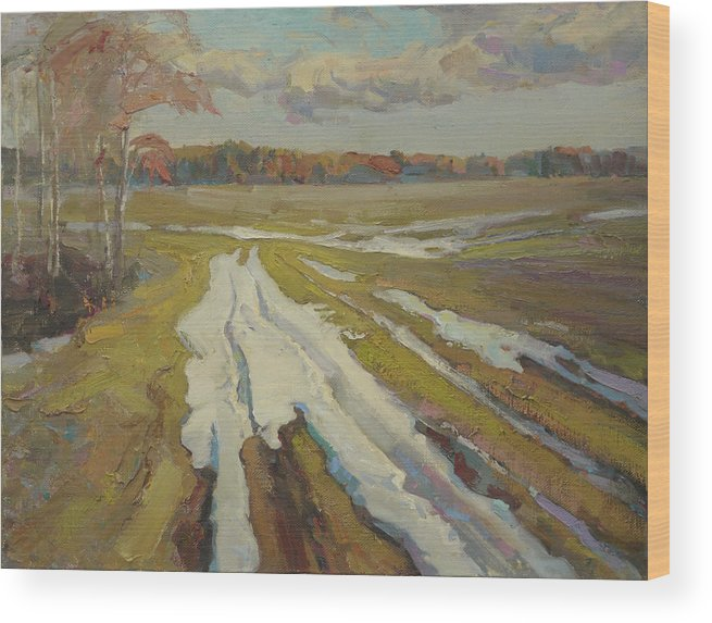 Spring Wood Print featuring the painting The Last Snow by Victor Onyshchenko