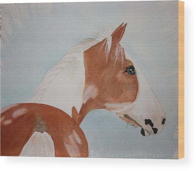 Horse Wood Print featuring the painting The Paint by Michele Turney