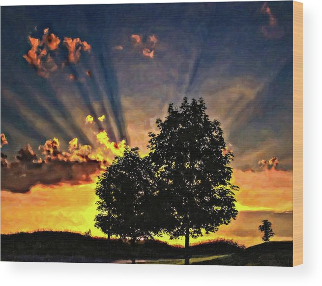 Sunset Wood Print featuring the photograph The Promise Oil by Steve Harrington