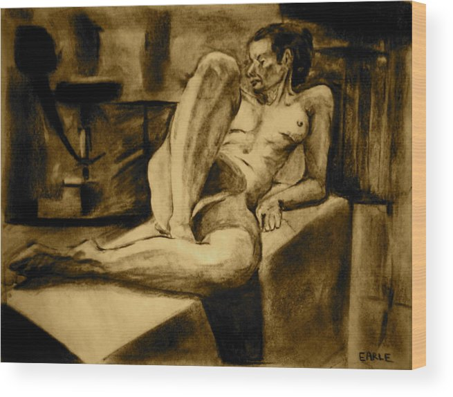 Female Nude Wood Print featuring the painting The Studio by Dan Earle
