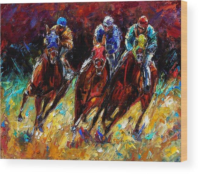 Horses Paintings Wood Print featuring the painting The Turn by Debra Hurd