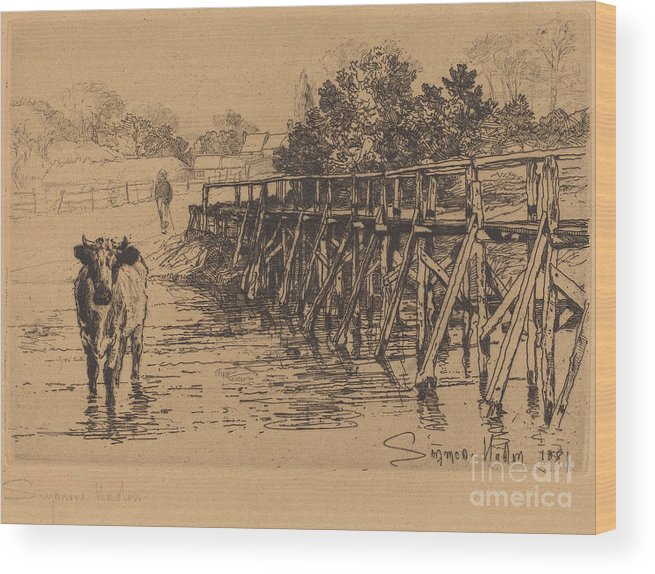 Wood Print featuring the drawing The Village Ford by Francis Seymour Haden