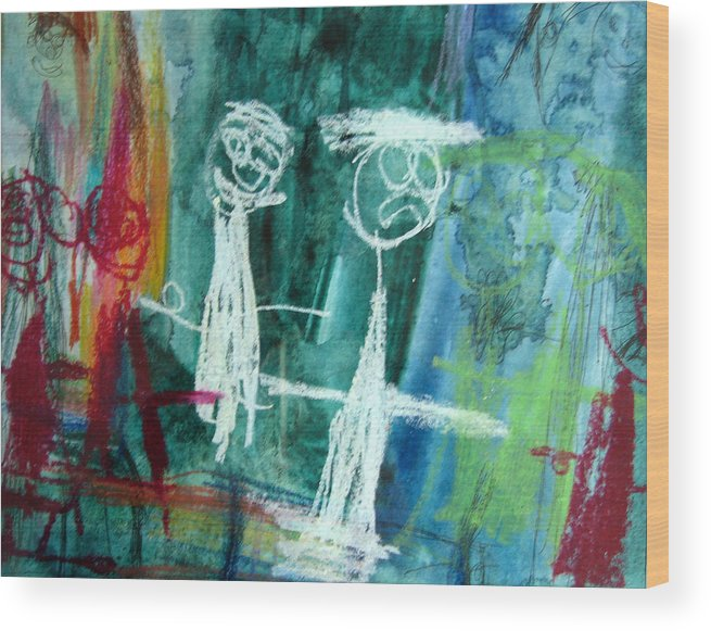 Wedding Wood Print featuring the mixed media The Wedding Party by Alfred Resteghini