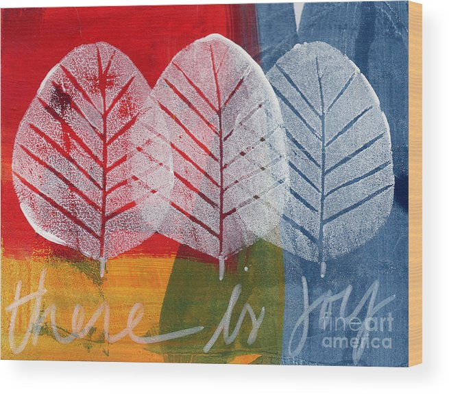 Abstract Wood Print featuring the painting There Is Joy by Linda Woods