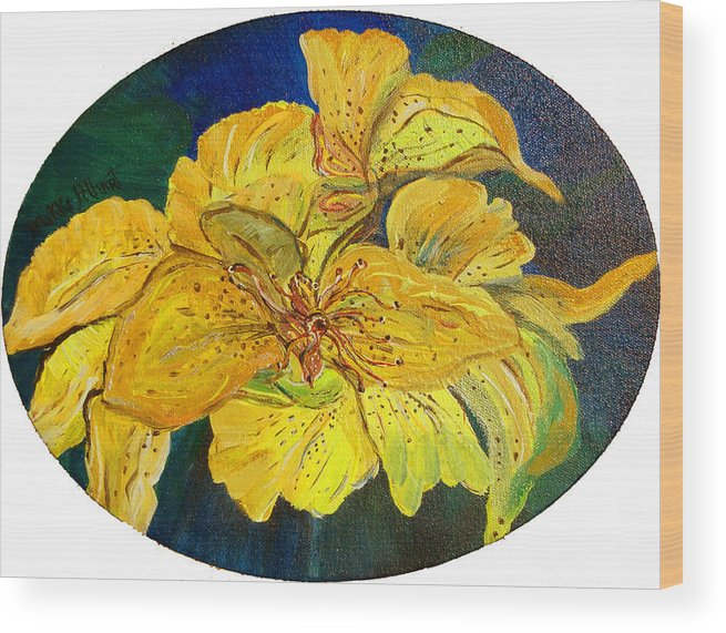 Tiger Lily Wood Print featuring the painting Tiger Lily by Mikki Alhart