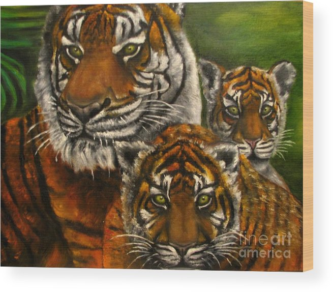 Animals Wood Print featuring the painting Tigers Family Oil Painting by Natalja Picugina