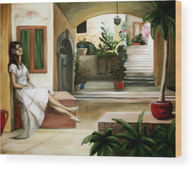 Portrait Wood Print featuring the painting Tuscan Courtyard by Maryn Crawford