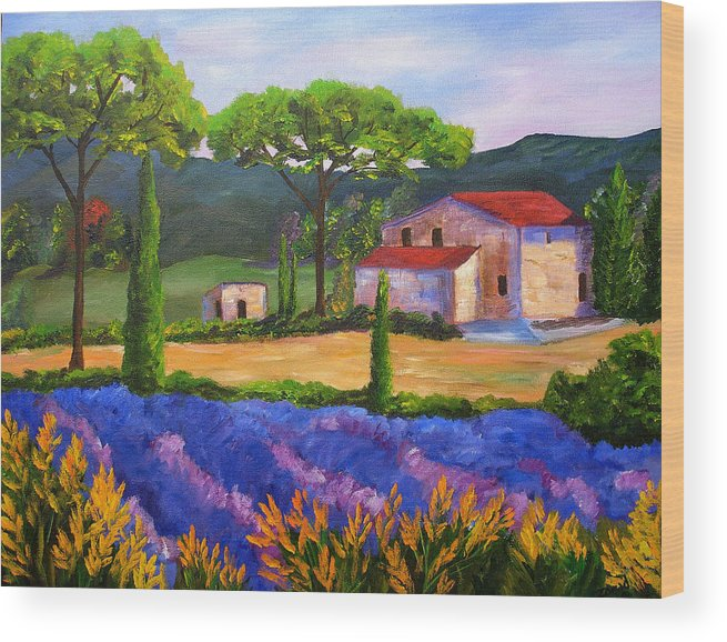 Landscape Wood Print featuring the painting Tuscany Villa by Mary Jo Zorad