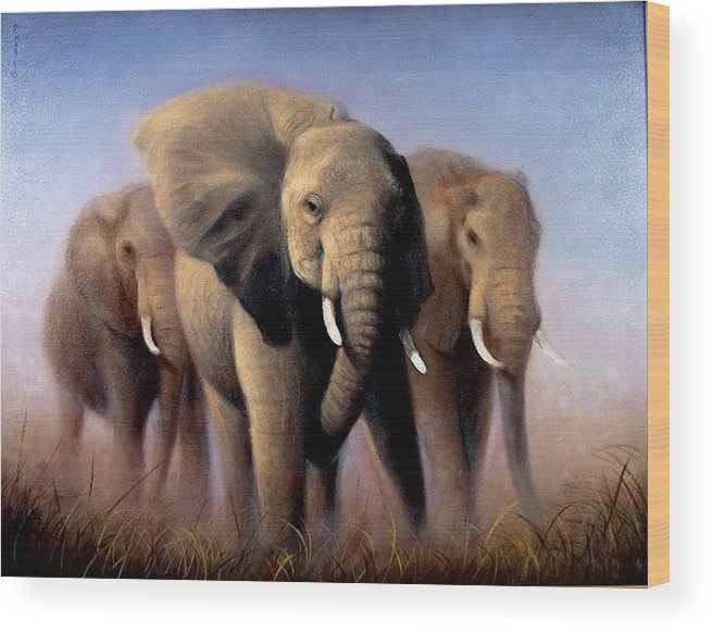 Realism Wood Print featuring the painting Tusks by Donelli DiMaria