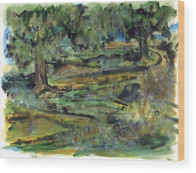 Trees Wood Print featuring the painting Two Trees by Lily Hymen