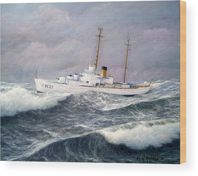 Ships Wood Print featuring the painting U. S. Coast Guard Cutter Taney by William H RaVell III