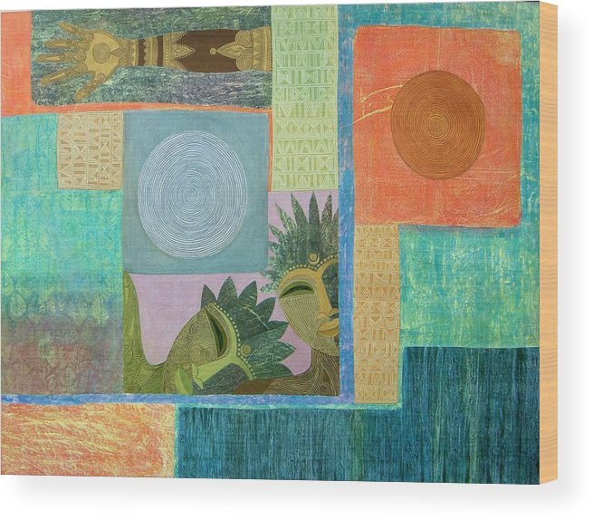 Ethnic African Abstract Sun Moon Texture Sgraffito Exotic Men And Woman Wood Print featuring the painting Union Of The Sun And Moon by Jennifer Baird