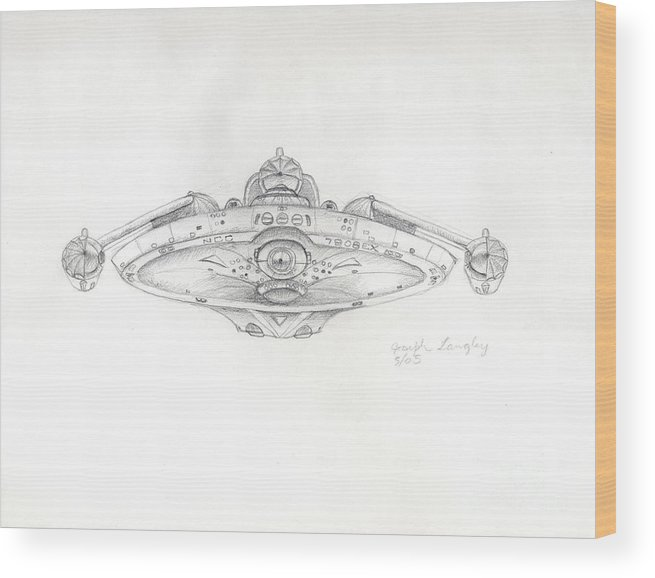 Star Trek Wood Print featuring the drawing Uss Bering Sea Front View by Joseph A Langley