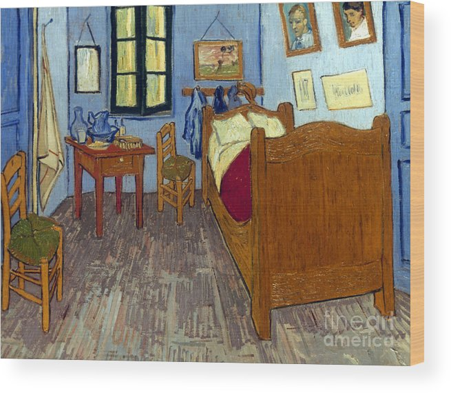 1889 Wood Print featuring the photograph Van Gogh: Bedroom, 1889 by Granger