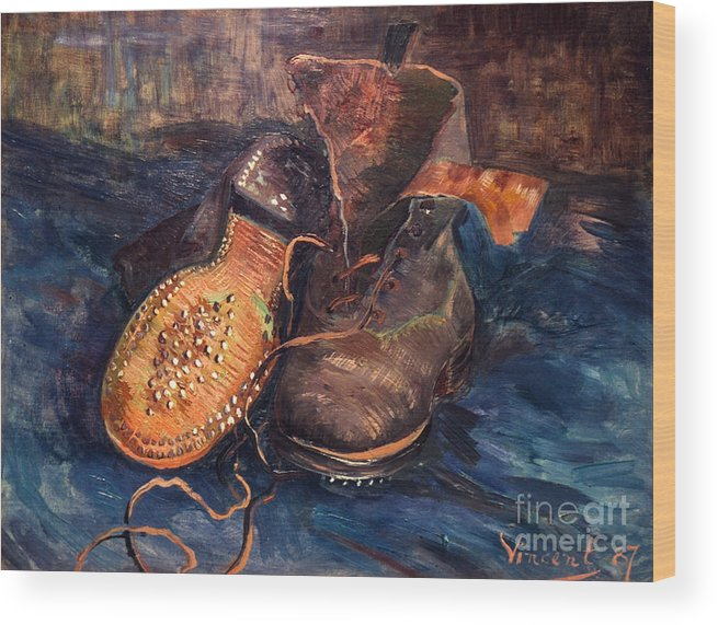 1887 Wood Print featuring the photograph Van Gogh: The Shoes, 1887 by Granger