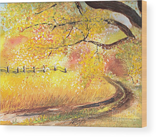 Landscape Wood Print featuring the painting Walk About by Vivian Mosley