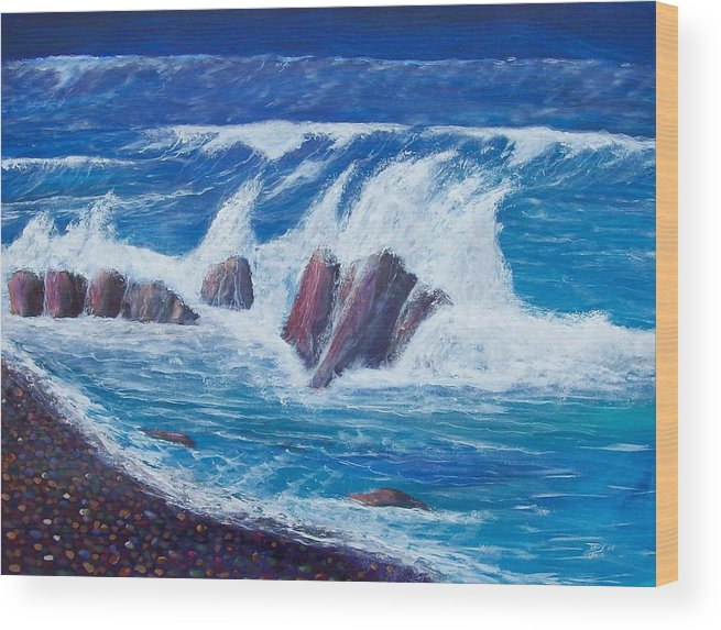 Seascape Wood Print featuring the painting Wave Crashing by Tony Rodriguez