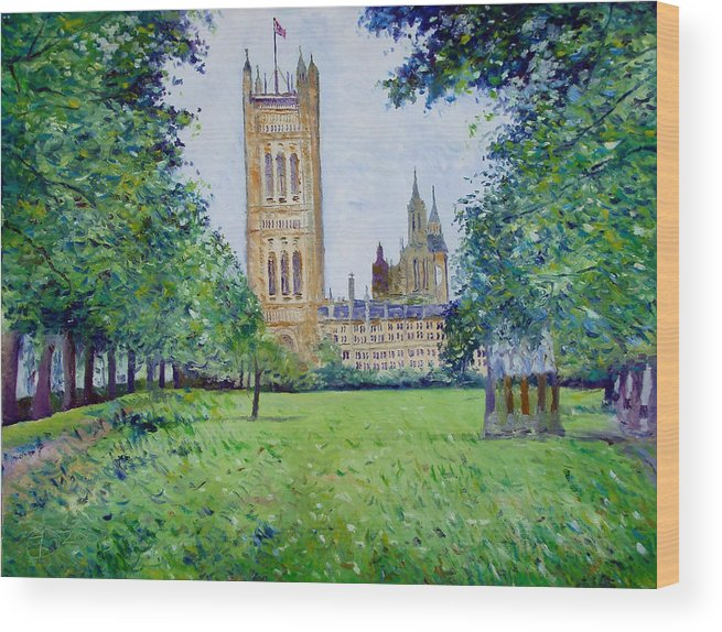 Enver Larney Wood Print featuring the painting Westminster Abbey From Abbey Grounds London England 2003 by Enver Larney