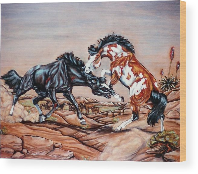 Leather Wood Print featuring the painting Who The Boss by Lilly King