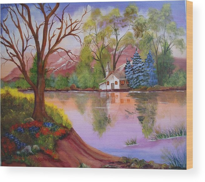 Landscape Reflection Building Church Lake Wood Print featuring the painting Wildwood Church by Sherry Winkler