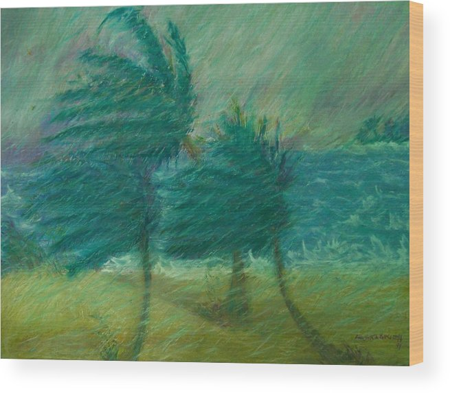 Pastel Wood Print featuring the painting Windy Day by Ana Bikic