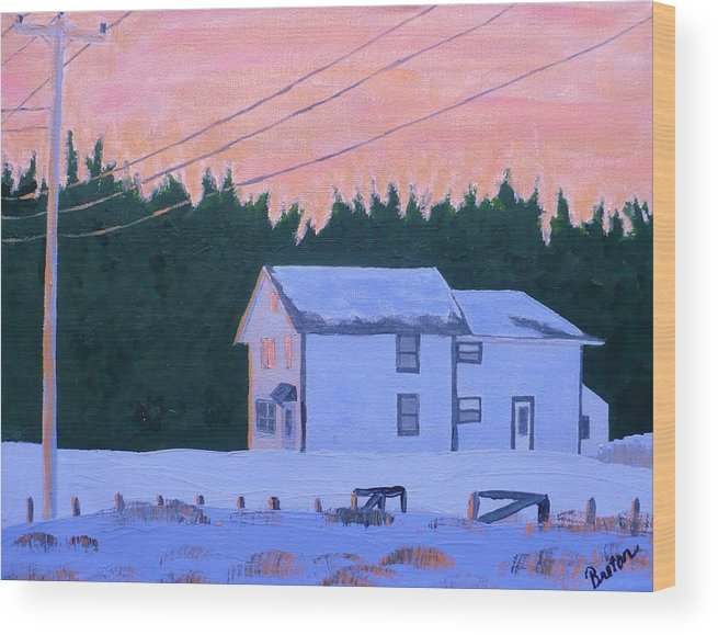 Maine Wood Print featuring the painting Winter Dusk by Laurie Breton
